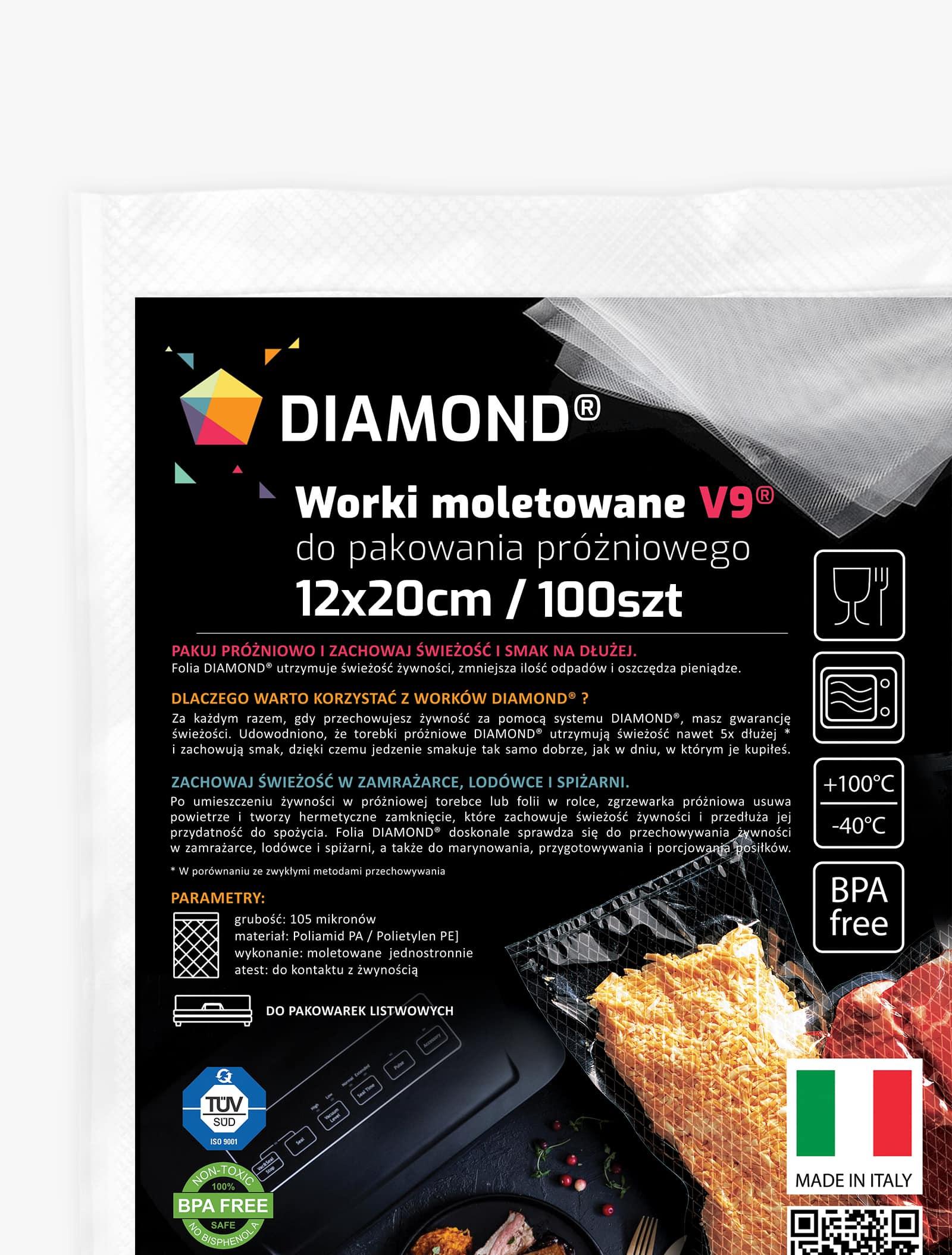 Worki moletowane do zgrzewarki DIAMOND® 12x20 cm - 100szt