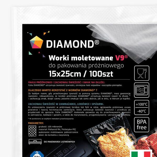 Worki moletowane do pakowarki próżniowej DIAMOND® 15x25 cm - 100szt