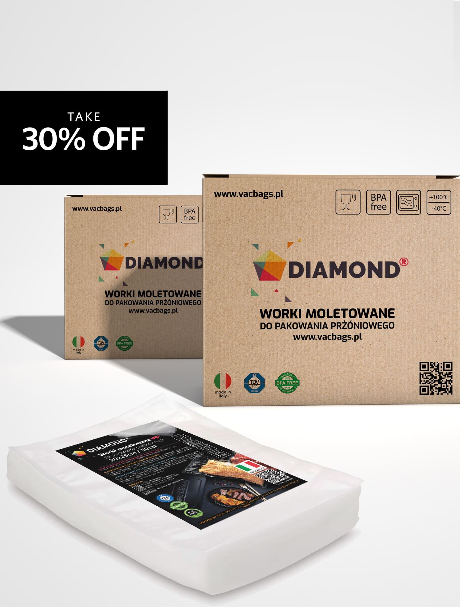 Worki moletowane DIAMOND® 12x20 cm (pakiet)