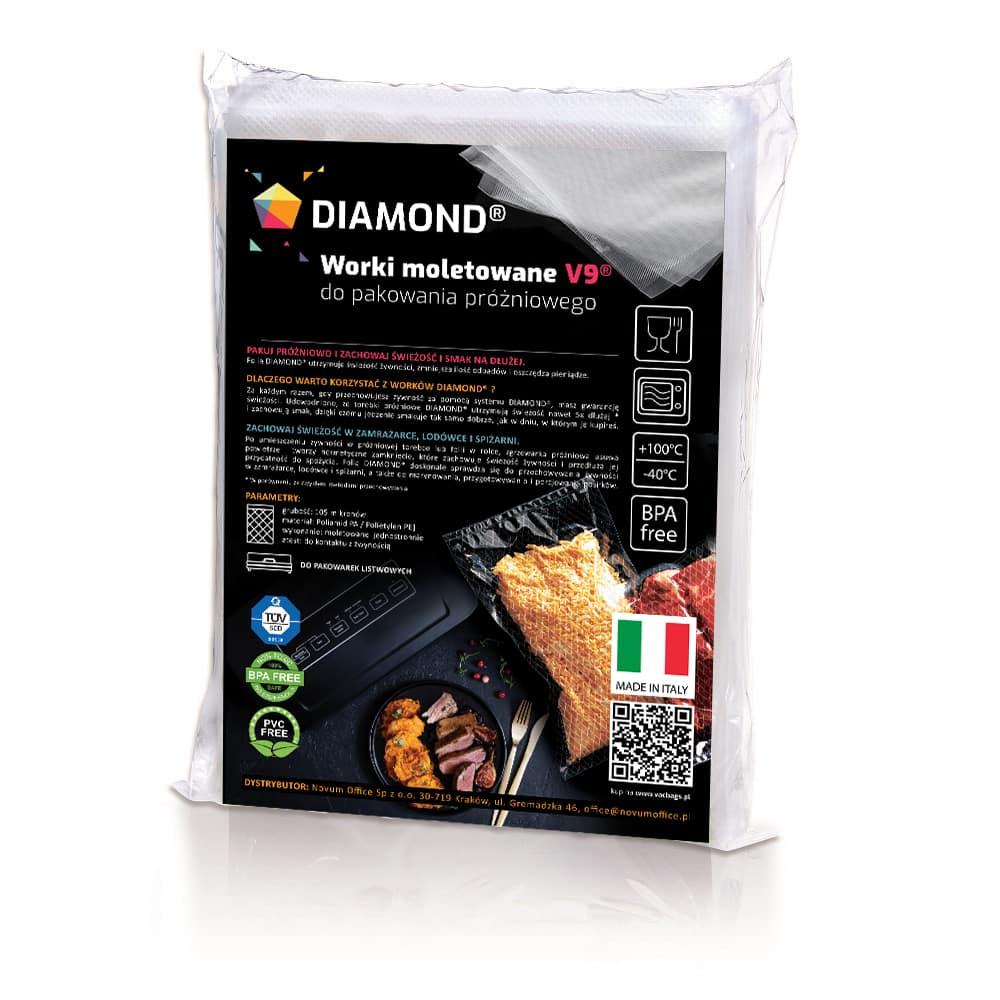 Worki moletowane do pakowania próżniowego DIAMOND® 20x40 cm - 100szt